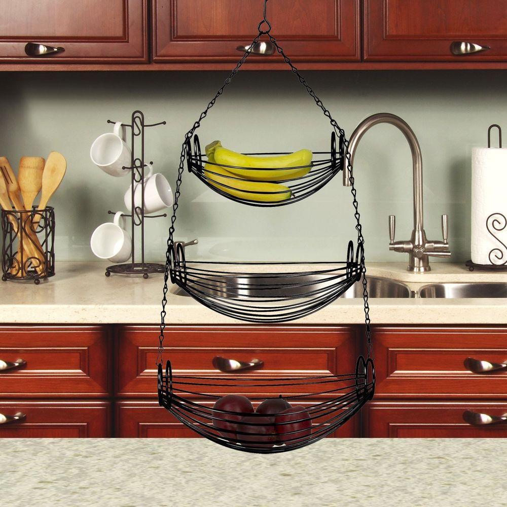 hanging fruit basket 3 tier wire kitchen storage vegetable