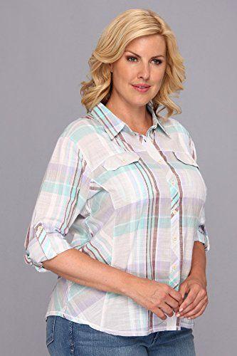 db5f7df185b96 Columbia Womens Plus Size Camp Henry  L S Shirt Moonstone Plaid Button-up  Shirt 1X