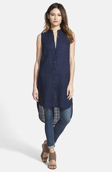 19709a3658f4 Women's Eileen Fisher Mandarin Collar Linen Shirtdress (Online Only ...