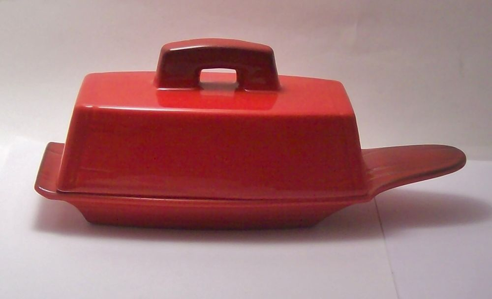Vintage Metlox RED ROOSTER Poppytrail Butter Dish California Pottery #Metlox