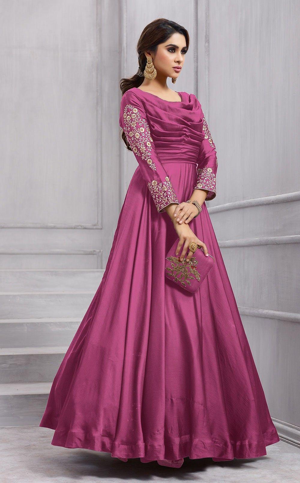 5697512f79 Baby Pink indo western designer evening party wear gown in net ...