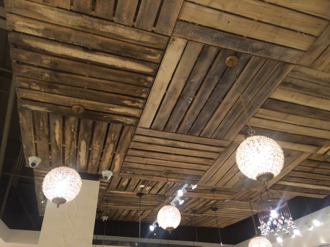 Wood Pallet Ceiling Home Ceilings Wooden Pallet Wall