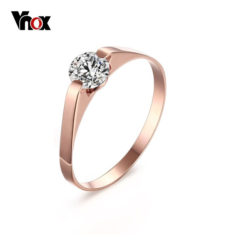 764670d5a7 Womens Rose Gold-Color Ring Trendy Cubic Zircon Stone Engagement Rings for  Girl