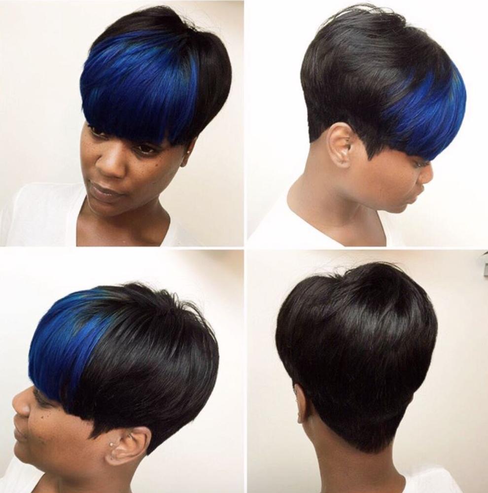 Hairbylatise short hairstyles pinterest hair style short blue bangs via black hair information pmusecretfo Choice Image