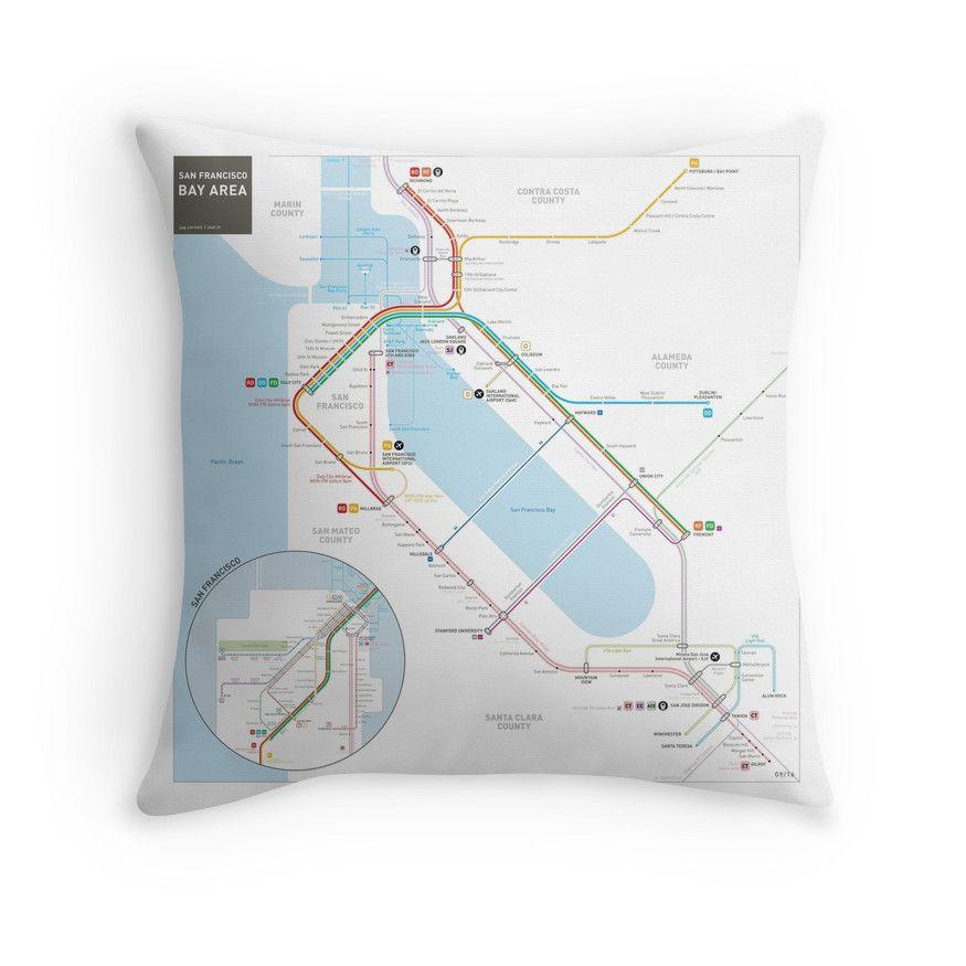 Dc Subway Map Pillow.San Francisco Bay Area Transit Map Throw Pillow Living Room