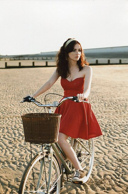 Red Dress And Converse Oh So Me Bicycle Girl Short Girl