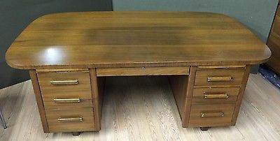 Danish-Style-Mid-Century-Modern-Walnut-Desk-Executive-Large-Industrial-Partners
