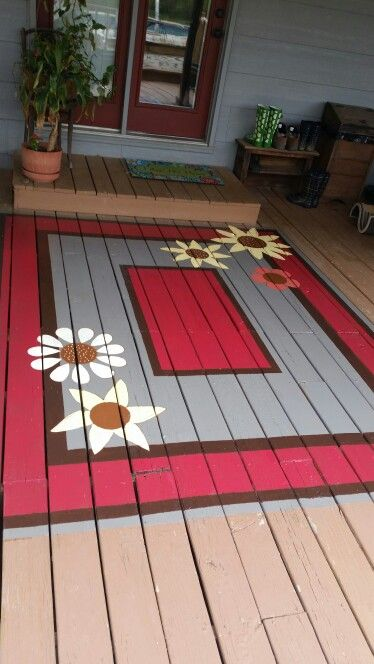 Painted deck rug cheaper than replacing boards for Porch floor paint ideas
