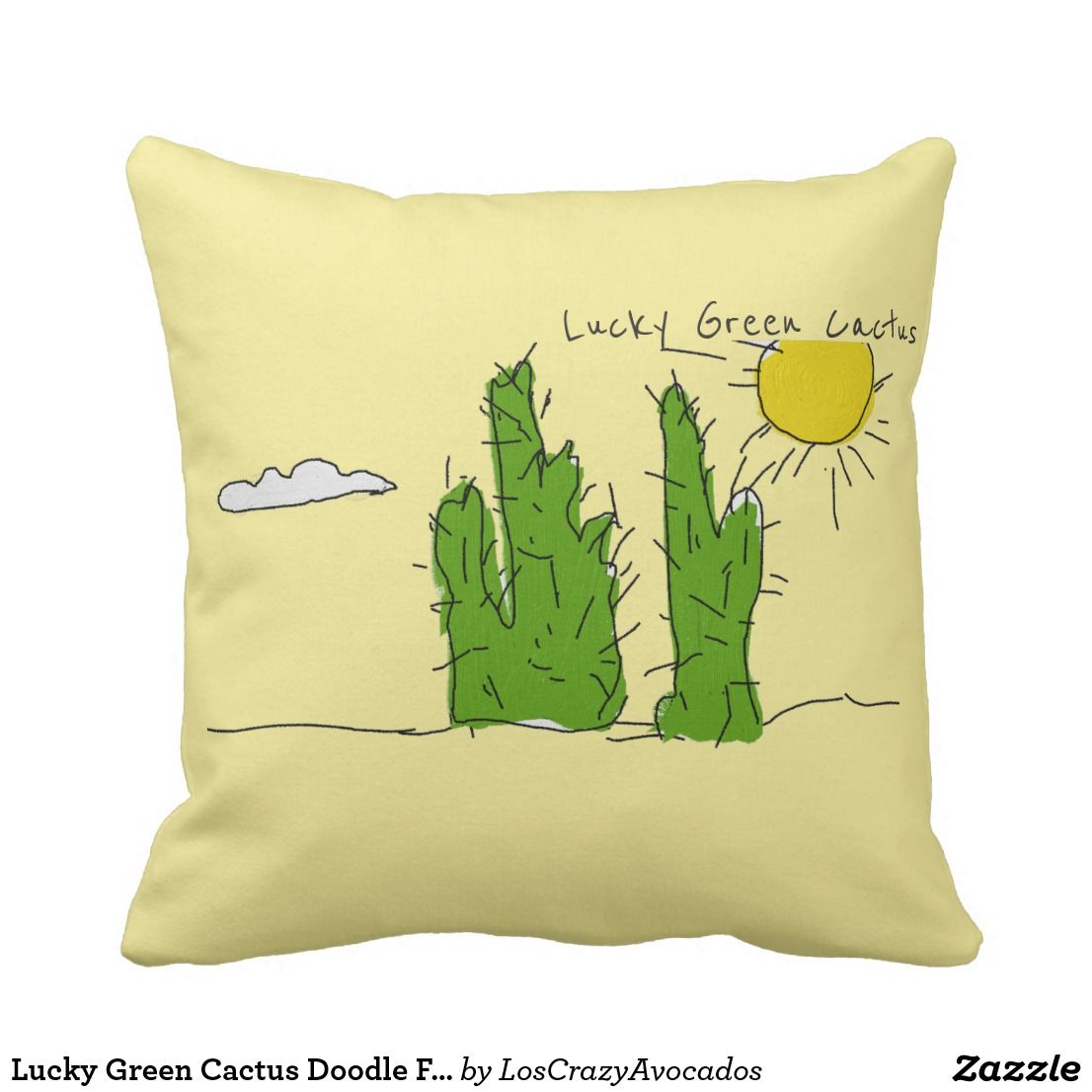 Lucky Green Cactus Doodle Funky Throw Pillow | Pillows / Cushions ...