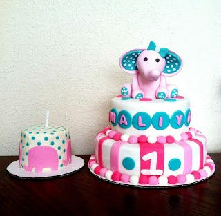 Elephant themed vegan birthday cakes 2 tier cake with matching