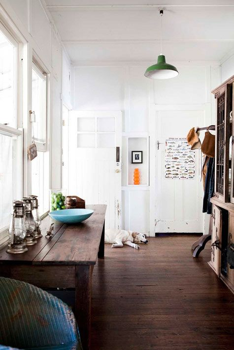 love the floors...and the dog...and the blue bowl