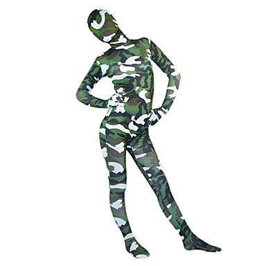 White and Green Camouflage Spandex Lycra Full body Zentai