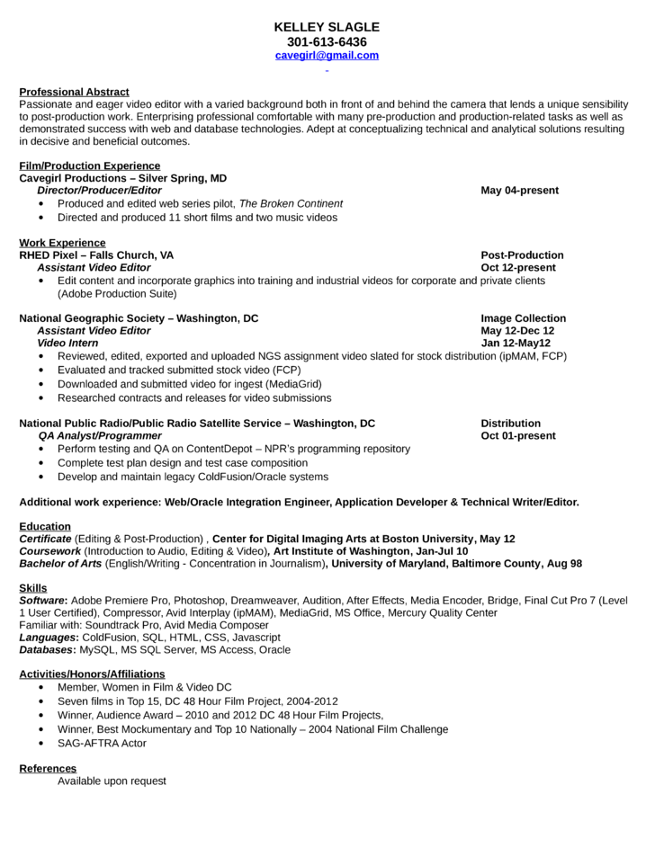 Film Producer Resume Resume Format Video Editor  Pinterest  Resume Format Editor And .