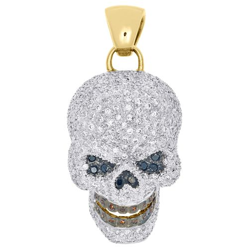 10k Yellow Gold Color Diamond Talking Skull Head Pendant 1 8 Pave Charm 3 17 Ct Gold Skull Womens Silver Jewelry Colored Diamonds