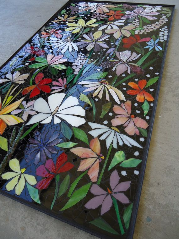 Exterior Mosaic Wall Art Stained Glass Wall Decor Floral Garden Indoor Outdoor Patio Art Wall Hanging Made To Order Mosaic Wall Art Patio Art Mosaic Flowers
