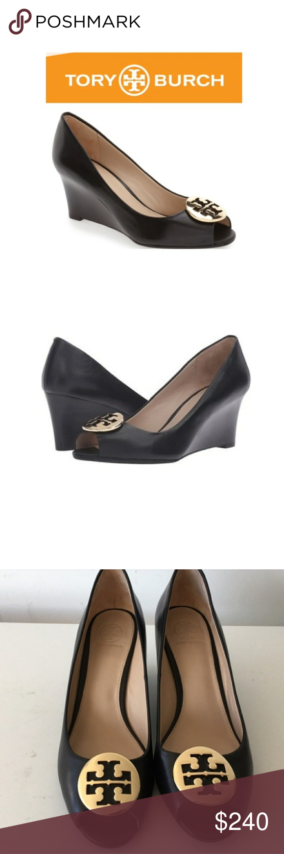 d6db46a5671d 7.5 Tory Burch Kara Wedge Pump Black 💕New in Box Trendy and also  comfortable shoe