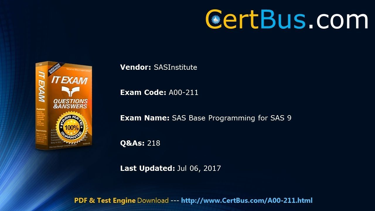 Sasinstitute A00 211 Study Guide And Practice Exams Test Engine And