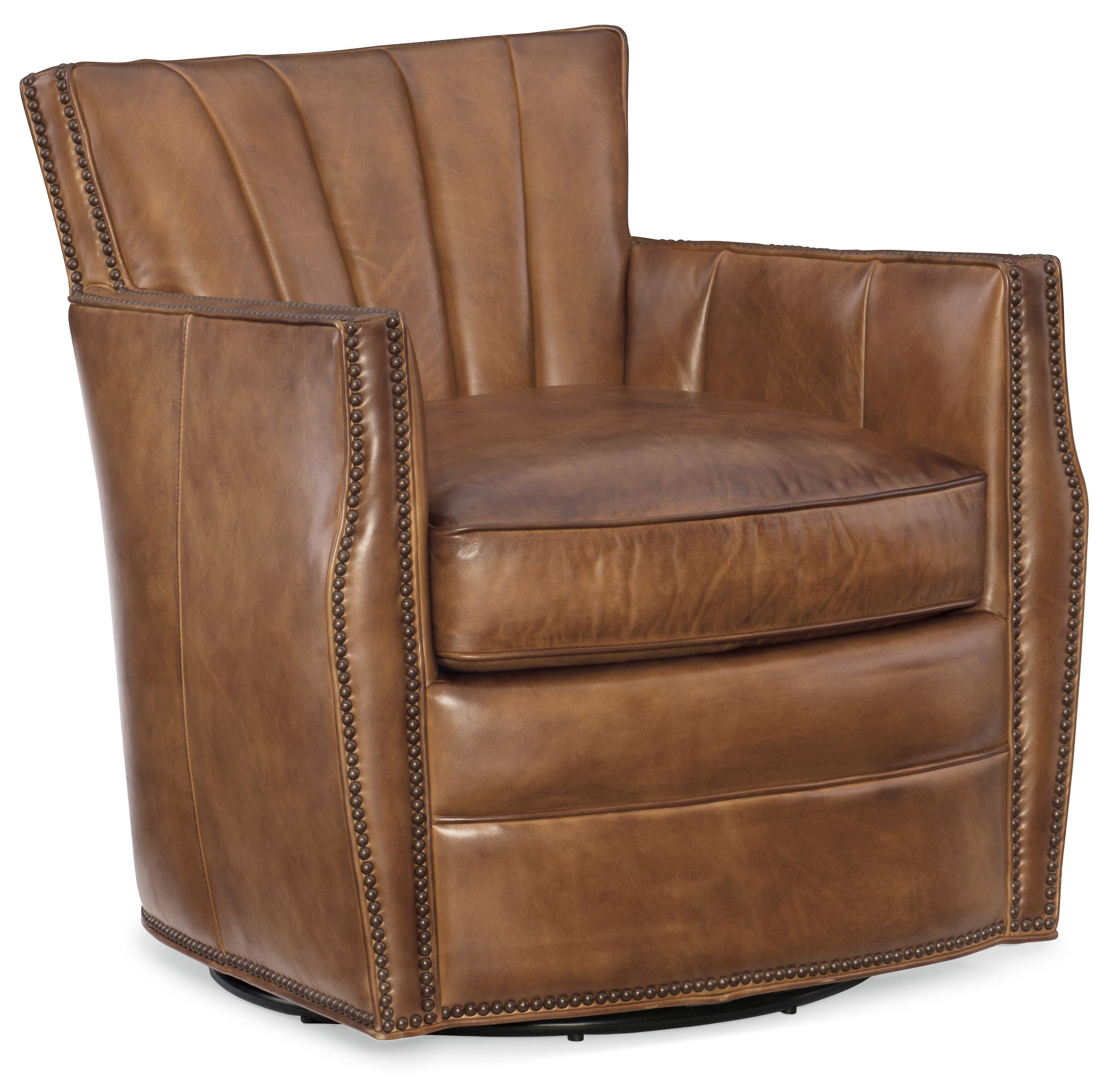 Brown leather swivel accent chair available at mooradians furniture