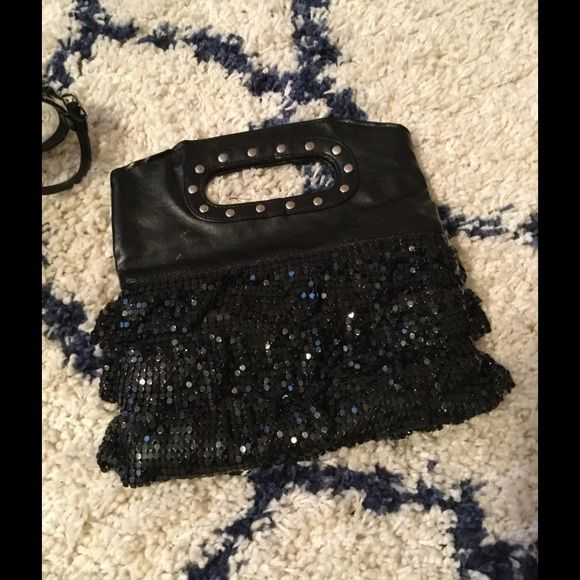 Lil sequins clutch. Cute black studded  layered sequins clutch. ( posh bags bin 1) Bags Clutches & Wristlets