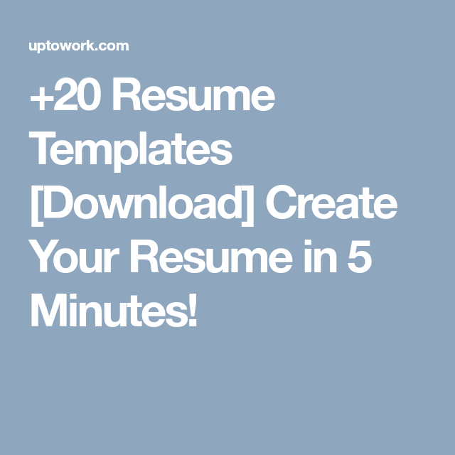 Resume Templates Download Create Your Resume In  Minutes