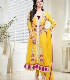 Buy Yellow Georgette Semi Stitched Long Anarkali Suit By Fabfiza anarkali-salwar-kameez online