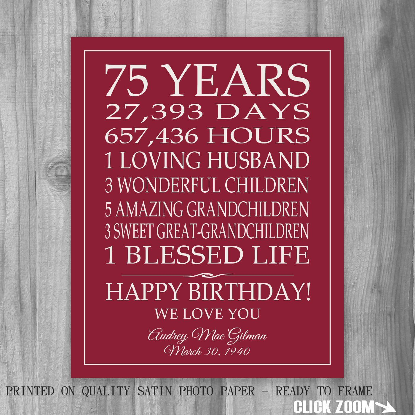 75th BIRTHDAY GIFT Sign Print Personalized Art Mom Dad Grandma Birthday Best Friend Or Digital
