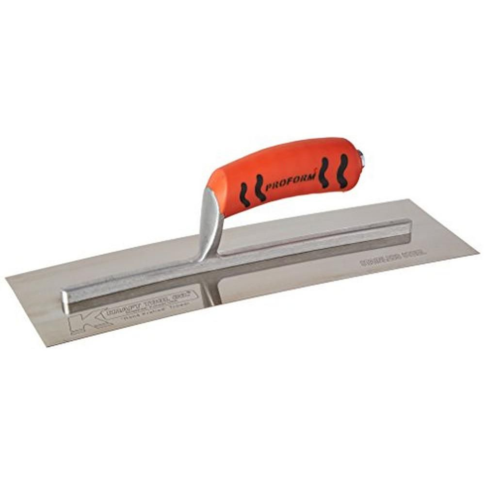 Kraft Tool Co 14 In X 4 1 2 In Stainless Steel Drywall Finishing Trowel Proform Handle Drywall Finishing Concrete Tools Stainless Steel
