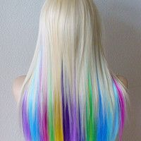 Platinum Blonde Hair With Pastel Google Search Rainbow Hair Ombre Rainbow Wig Ombre Hair