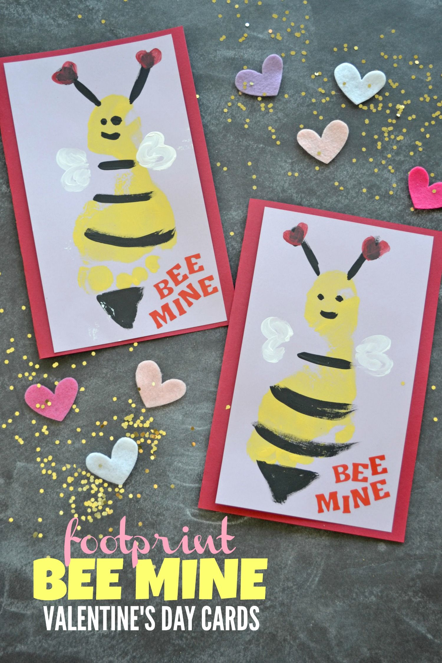 Footprint Bee Mine Valentine S Day Cards Glued To My Crafts