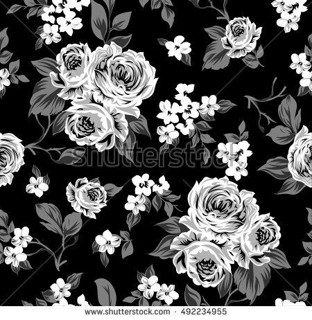 Seamless Vector Vintage Pattern With Victorian Bouquet Of White Flowers On A Black Background Roses Tulips Delphinium Gray Leaves