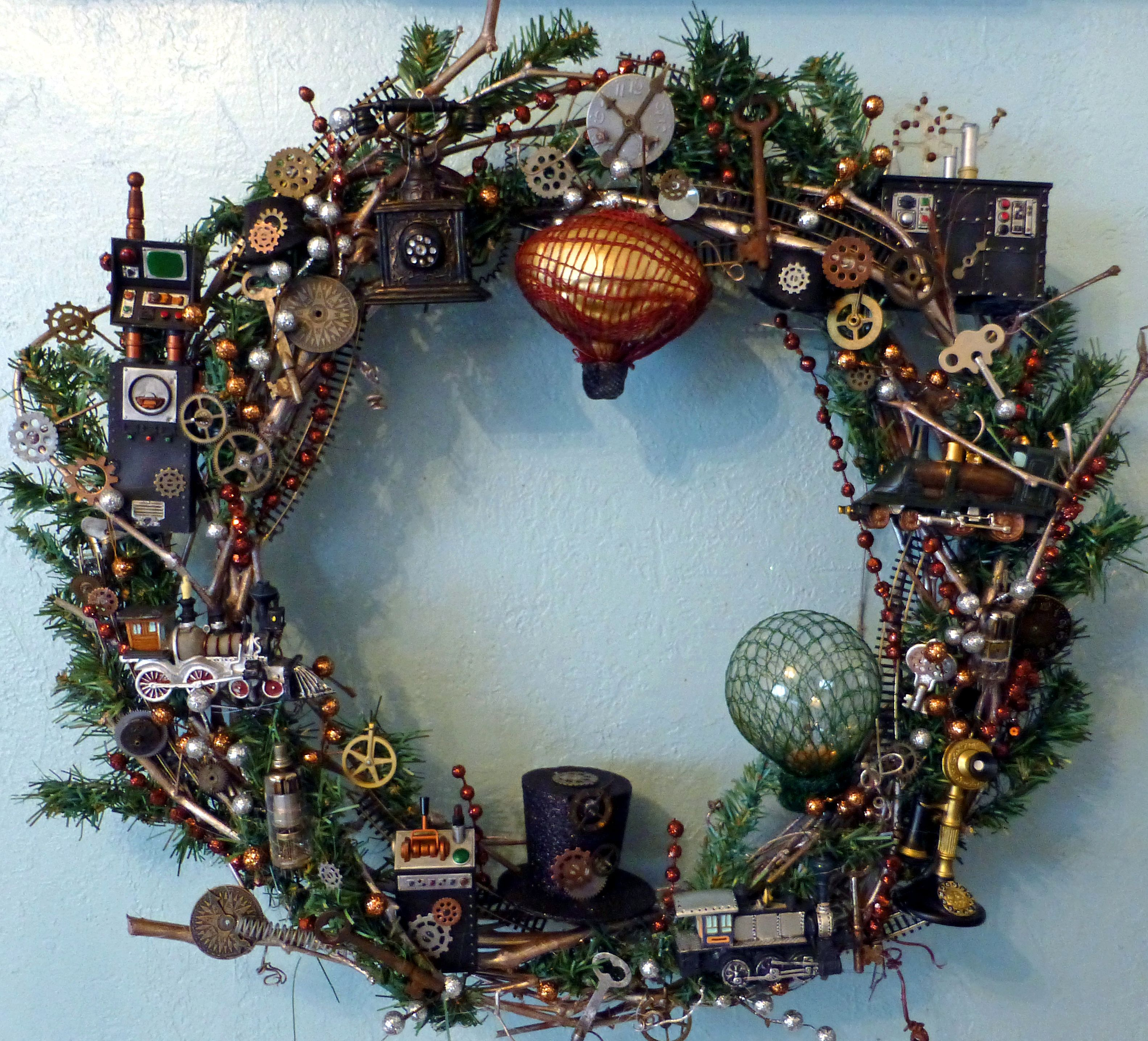 Steampunk Ideas Steampunk Christmas Wreath Steampunk Christmas