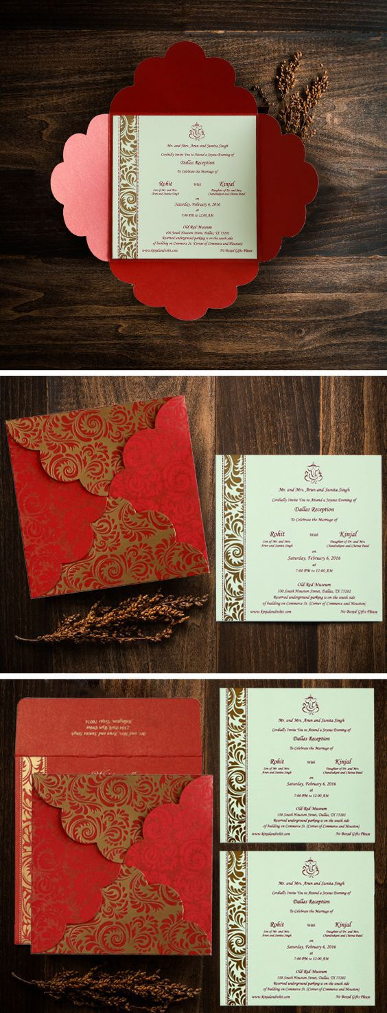 Red shimmery floral themed - screen printed wedding card : cd-8235c ...
