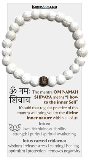 KarmaArm Buddhist Jewelry Black Onyx Yoga Reiki Healing Chakra Zen Bracelet Love is All Around ME: Lotus Carved Tridacna Meditation Love Bracelet