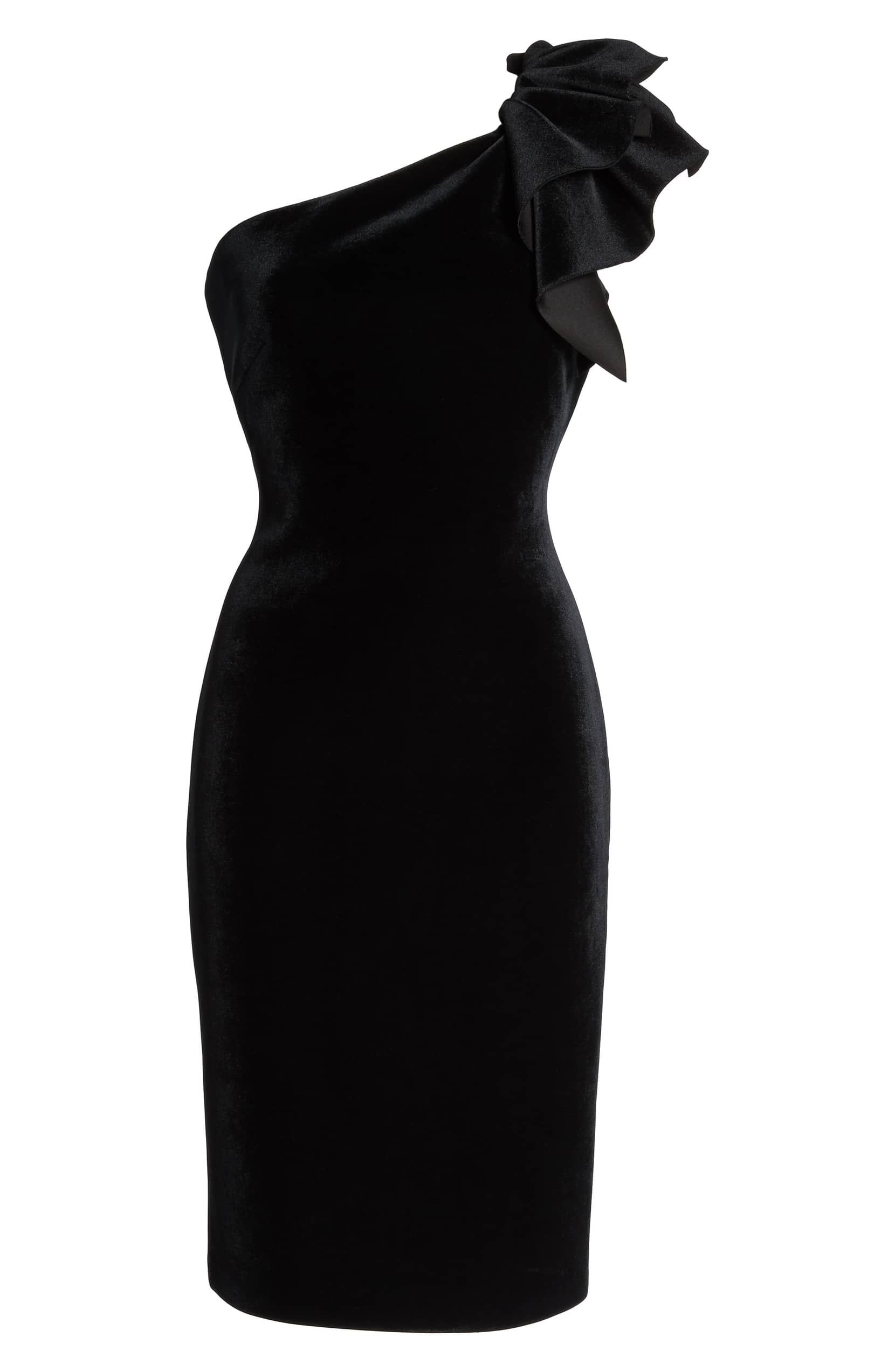 Eliza j oneshoulder velvet sheath dress black winter in