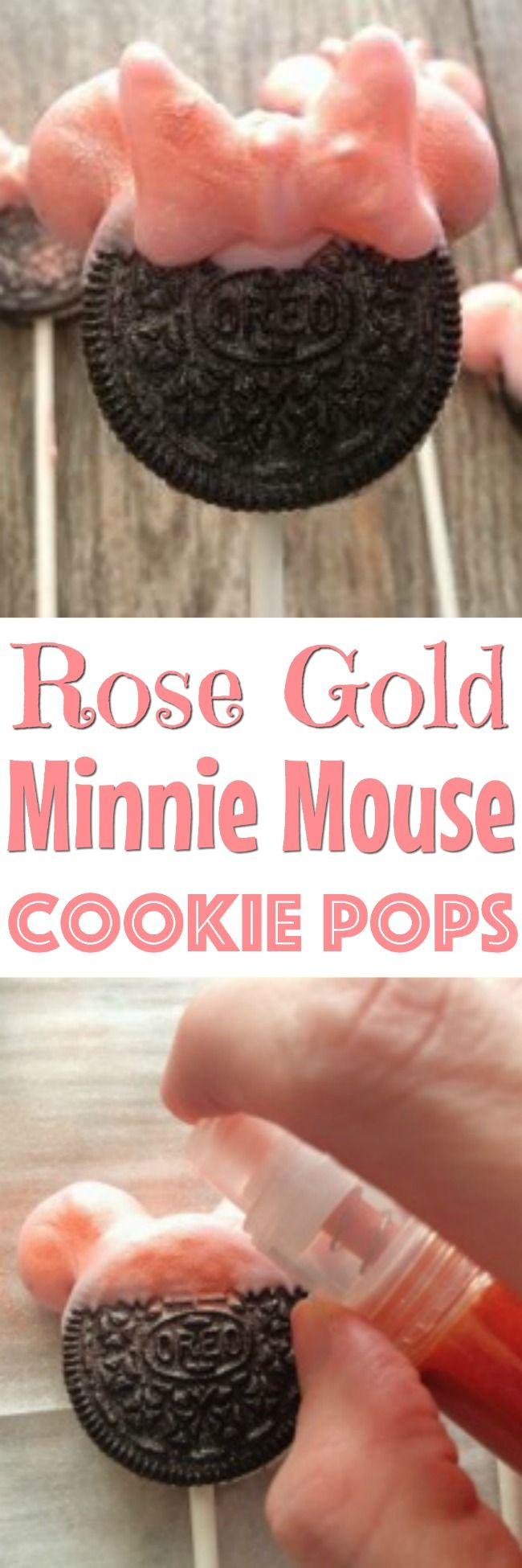 A tutorial on how to make these cute Rose Gold Minnie Mouse Ears Cookie Pops! #cookiepop #minniemouse #mickeymouse #minniemouseparty #oreos #disneyrecipe