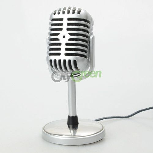 PYLE PDMICR42SL Classic Retro Vintage-Style Dynamic Vocal Microphone Silver NE