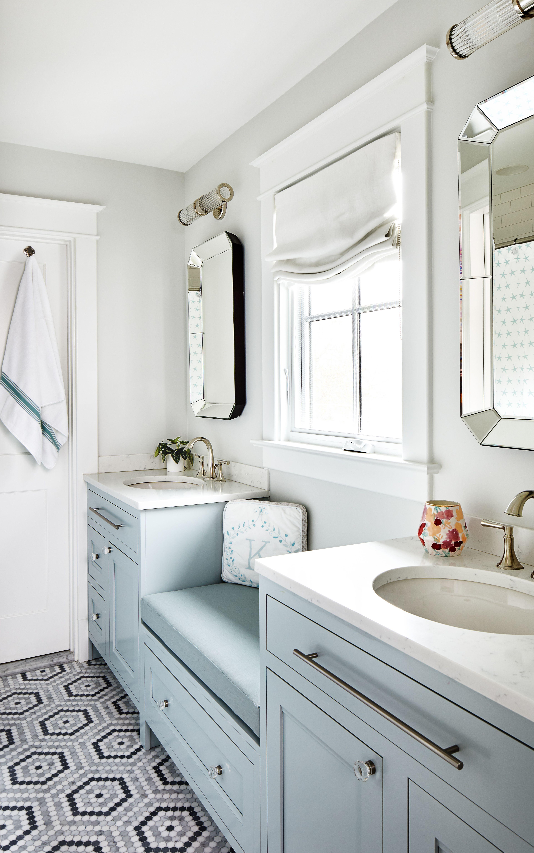 Urban Farmhouse Jack And Jill Bath Custom Bathroom Cabinets Modern Farmhouse Bathroom Galley Bathroom Designs