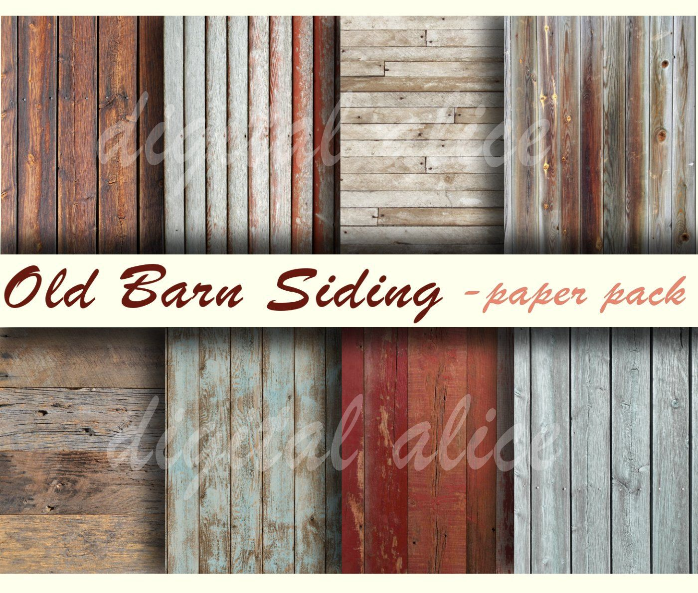 Scrapbook paper wood grain - Old Barnwood Textures Paper Pack Digital Papers 8 Worn Barn Siding Wood Finishes Weathered
