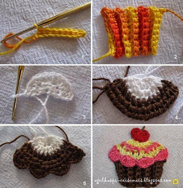 cupcake crochet   APPLIQUE   Pinterest   Apliques, Aplicación y ...
