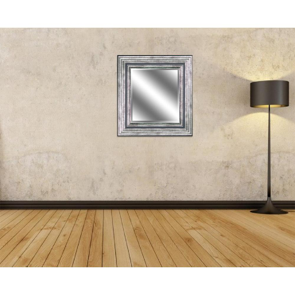 Reflection 27 in. x 23 in. Bevel Style Framed Mirror in Odessa Silver Finish