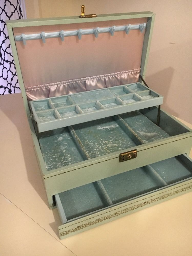 Vintage Mele Jewelry Box 3 Tier Blue Vinyl Leather Made In USA blue