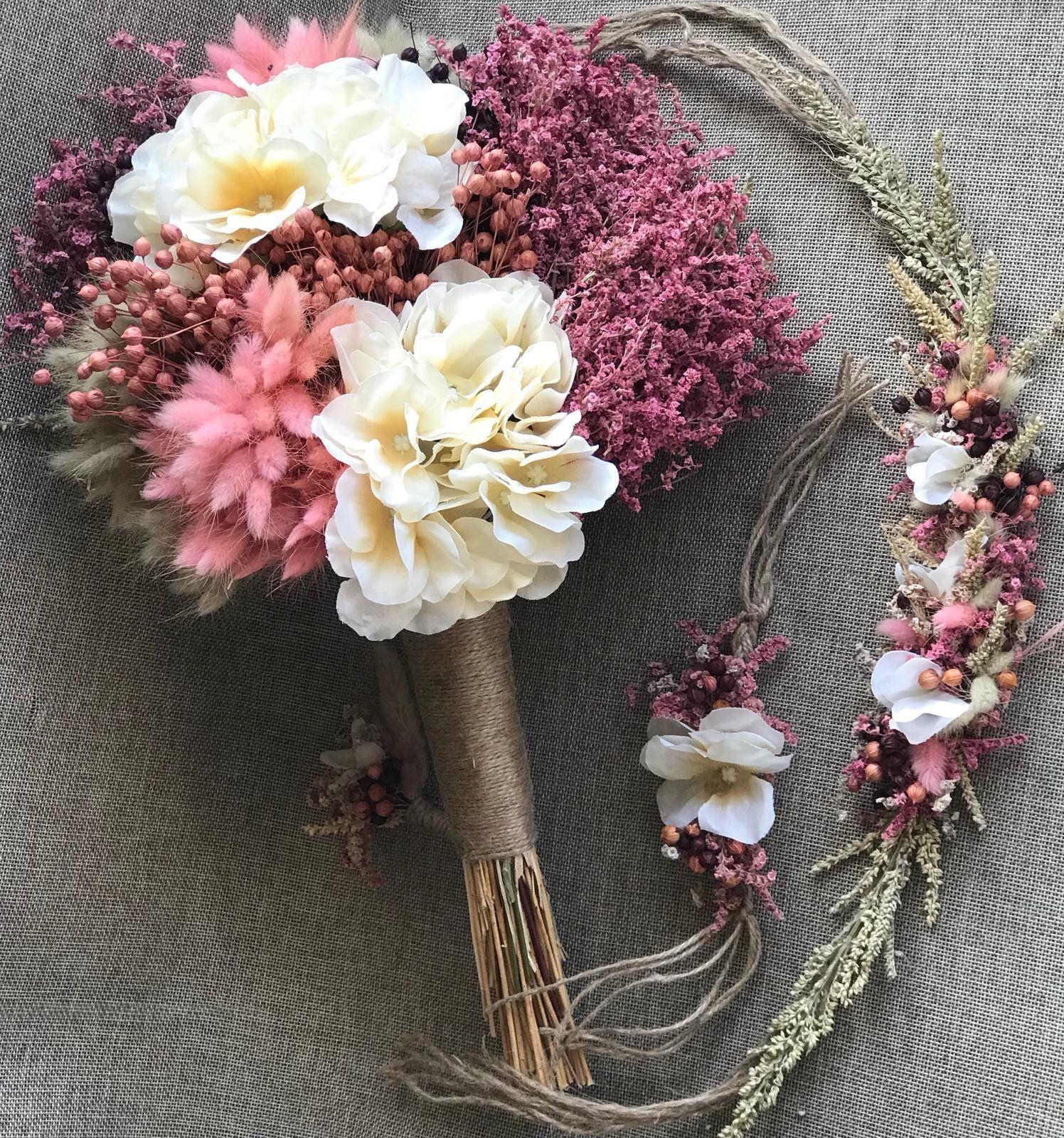 Wedding Dried Flowers Bouquet Set Bridal Bouquet Boutonniere