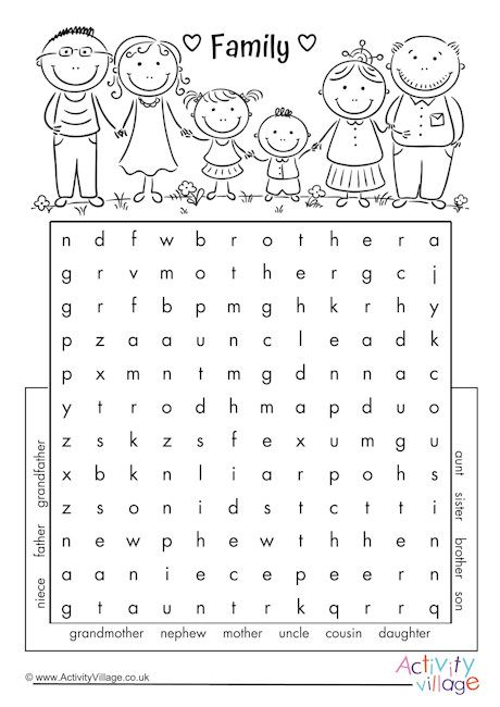 Family word search | English activities for kids, Word ...
