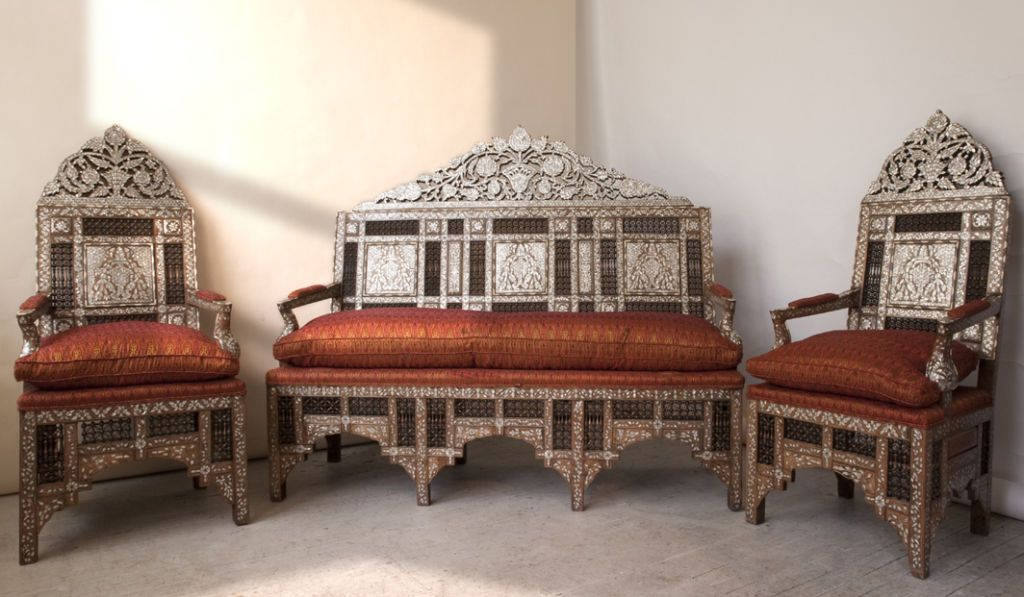 Set of ottoman furniture with mother of pearl inlay in - Moroccan living room furniture for sale ...