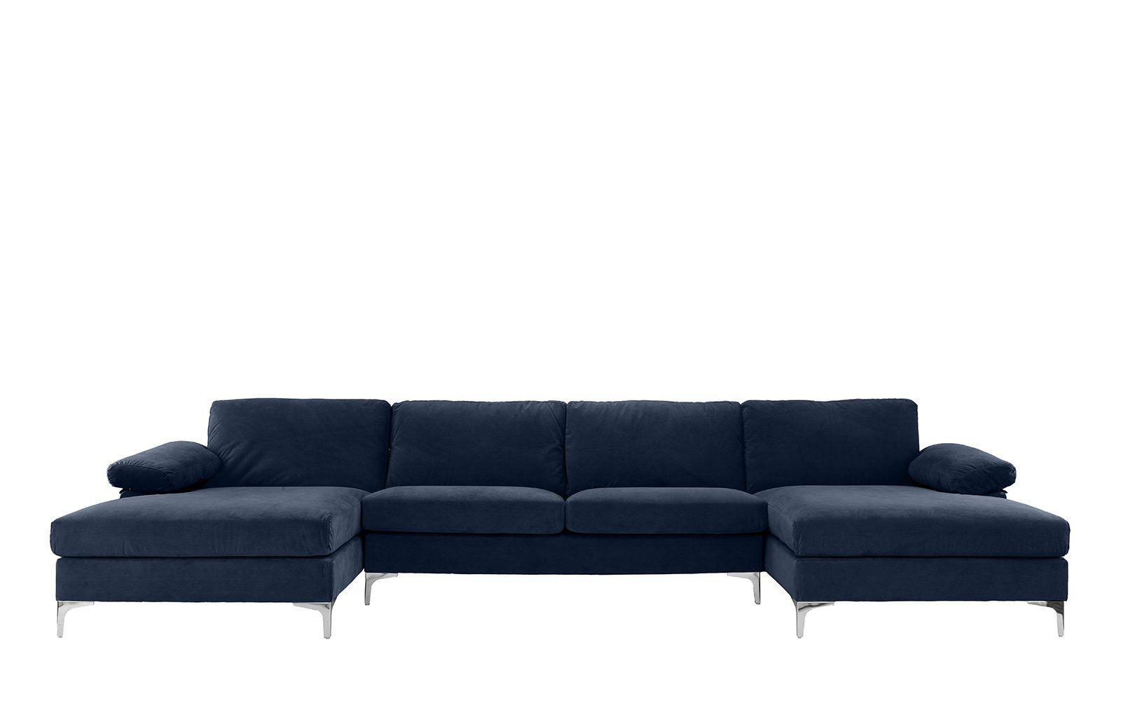 Amanda Xl Modern Velvet Oversized Sectional Sofa U Shaped