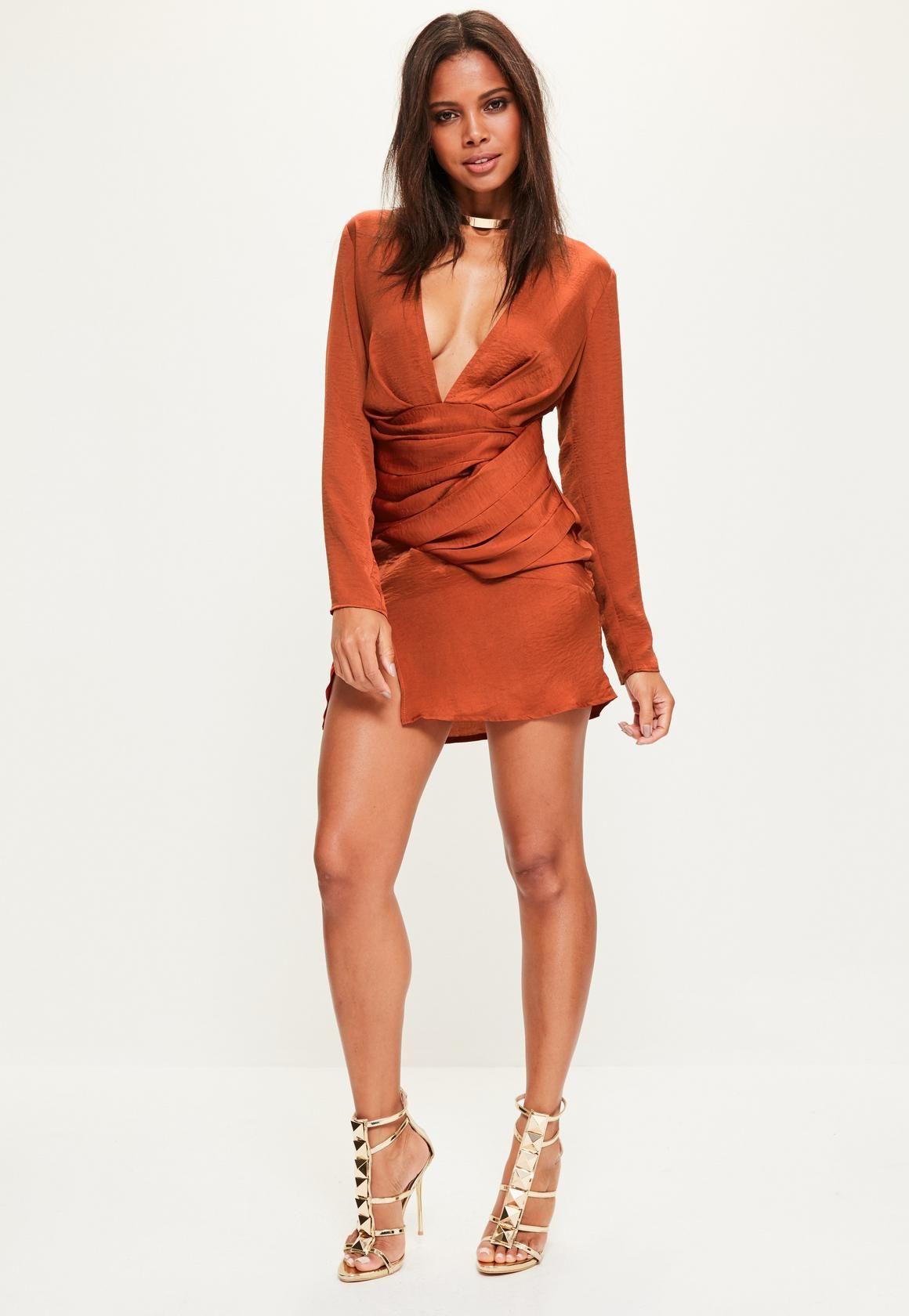 486053ac58 Missguided - Orange Silky Long Sleeve Panelled Dress White Long Sleeve Dress