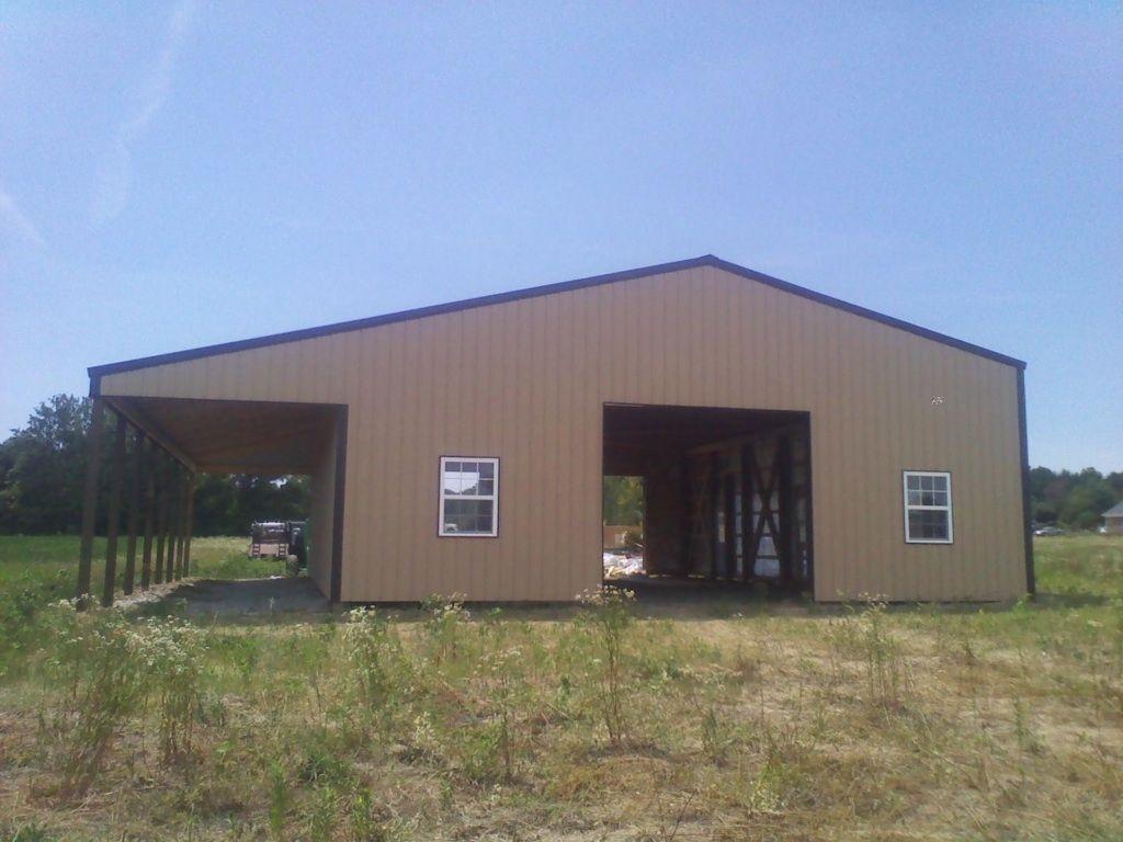Pole Barn 40x56x14 With 12x56 Shed Www Nationalbarn Com Pole Barn Post Frame Building Pole Barn Garage
