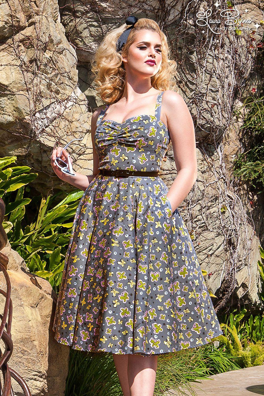 Final sale nancy dress in mary blair butterflies print in gray