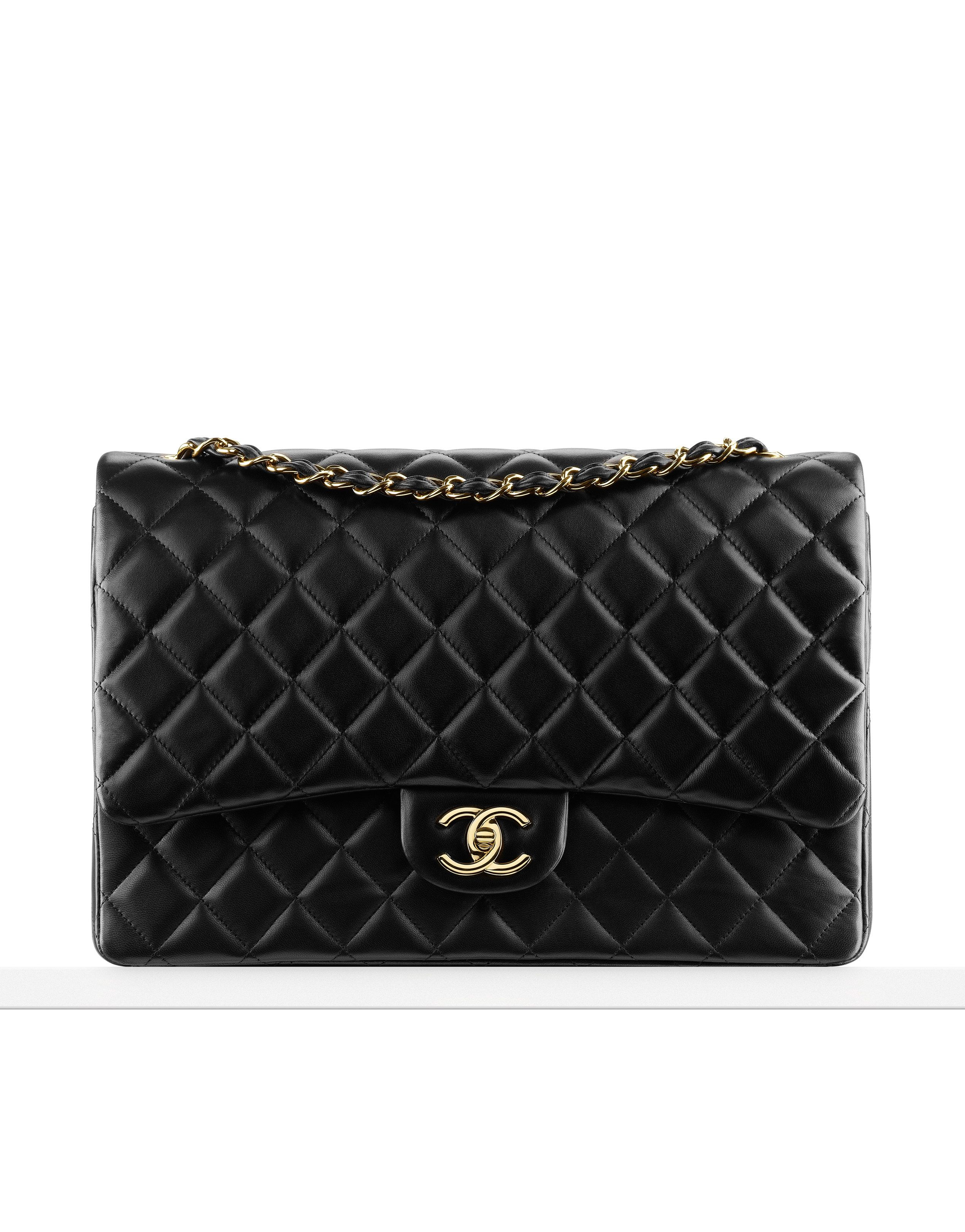 09b4fdb24189 Classics - Large classic flap bag in quilted lambskin. Also available in silver  metal
