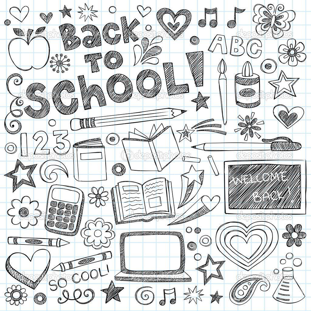Garabatos dibujados a mano Bienvenido de nuevo a escuela ...